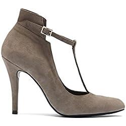 PoiLei Tiziana - Damen Schuhe / T-bar Riemchen-Pumps - mit Stiletto-Absatz taupe