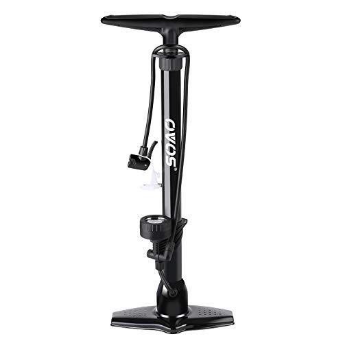 OVOS Standpumpe Hochdruck aus Metall mit Manometer bis 12 Bar Fahrradpumpe -Multiventilanschluss Standluftpumpe - Inklusive Adapter-Set (Alles schwarz)