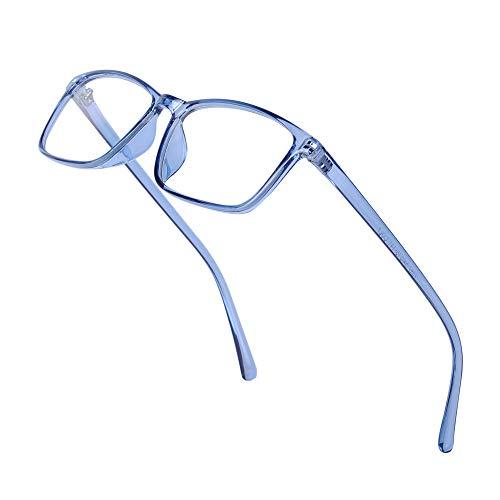 JoXiGo Nerd Brille Damen Herren Ohne Stärke Rechteckig Rahmen Klar Linse Brillenfassung mit Etui - Transparentes Blau