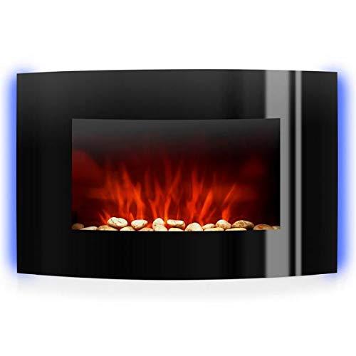 Klarstein lausanne - e2, camino, caminetto elettrico, camino con effetto fiamma, 2 livelli: 1000 e 2000 watt, dimmer, installazione a parete, led, 7 colori modificabili, telecomando, nero