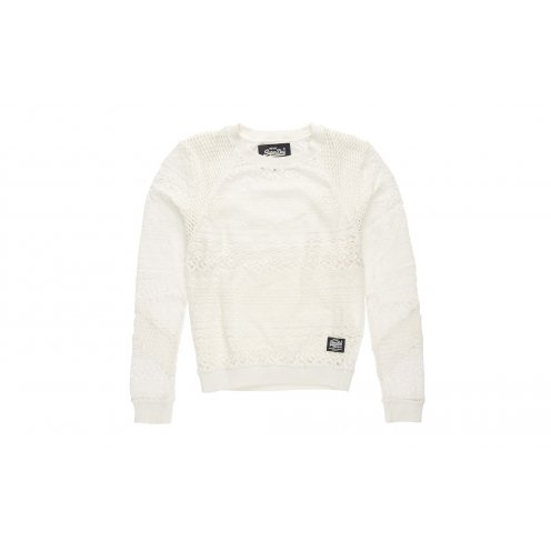 Pull Superdry Panel Lace Crew Blanc