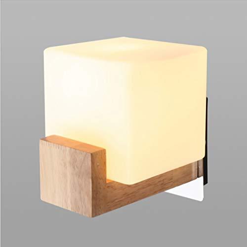 Multifunktionale Wandleuchte JIAQI Mode Kreative Feste Eiche Quadrat Wandleuchte Moderne Minimalistische Wohnzimmer Schlafzimmer Nacht Glas Lampe Treppen Gang Wandleuchte -