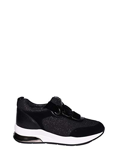LIU JO Zapatos Mujer Sneakers Karlie06 Lace Up Lurex Cow Suede Calf Black  Silver 0af66be9404