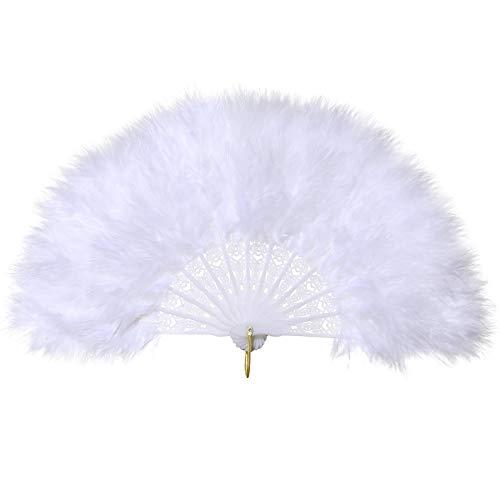 Coucoland Mädchen Feder Fächer Vintage Kinder Handfächer 1920s Great Gatsby Mädchen Fasching Kostüm Accessoires Zubehör (Weiß) (Weiß Aus Kontakte Kostüm)