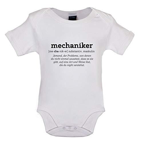 2 Humor Kleinkind T-shirt (Dressdown Mechaniker Substantiv, Maskulin - Lustiger Baby-Body - Weiß - 0-3 Monate)