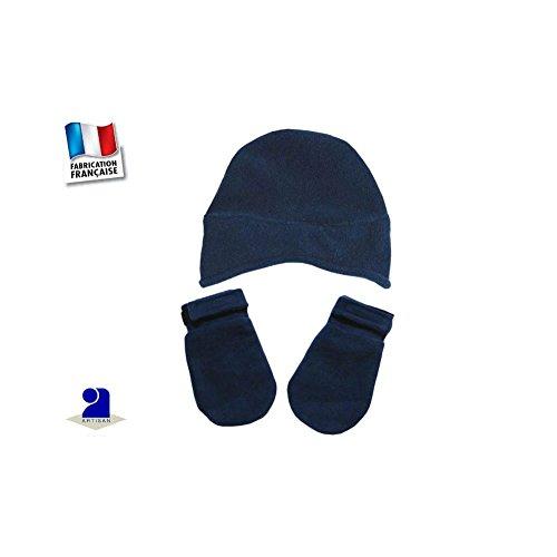 Poussin Bleu - Bonnet et moufles polaire 0 mois-24 mois Made In France Couleur - Bleu, Périmètre crànien - 48 cm 18 mois