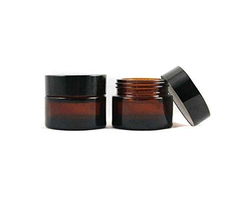 2 Stück-peeling (2 Stück 50ML/100ML (1.67OZ / 3.33OZ) Amber Glas Leere Nachfüllbare Probe Flasche Kosmetik Gesichtscreme Jar Pot Flasche Container Halter Fall mit schwarzem Schraubverschluss Deckel und Liner (100ml))