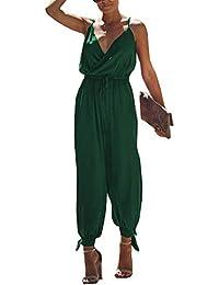 5a917e831db7e2 Walant Mode Femmes Combinaison Dos Nu sans Manches Col V Imprimé Floral  Camisole Barboteuse Jumpsuit D
