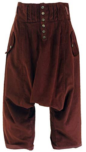 a2f47bfb32a911 GURU-SHOP, Pantalones de Pana Anchos, Pantalones de Boho Aladin, Marrón  Rojizo