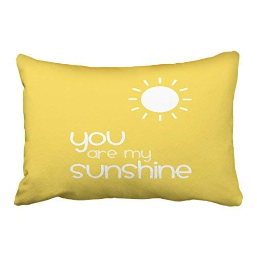 Xukmefat Custom You Are My Sunshine Yellow Pillow Decorative Inspirational Quotes Pillow Cover Throw Pillow Case Cover Quotes Zippered Pillowcase Pillow Cover Size 20x30 Inches Two Side