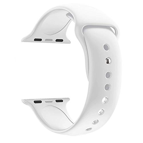 Shopping Mind Soft Silicone Sport Strap iWatch Wristband for iWatch Series 1,2,3,4 Sport Edition 42mm or 44mm Watch NOT Included (White1)