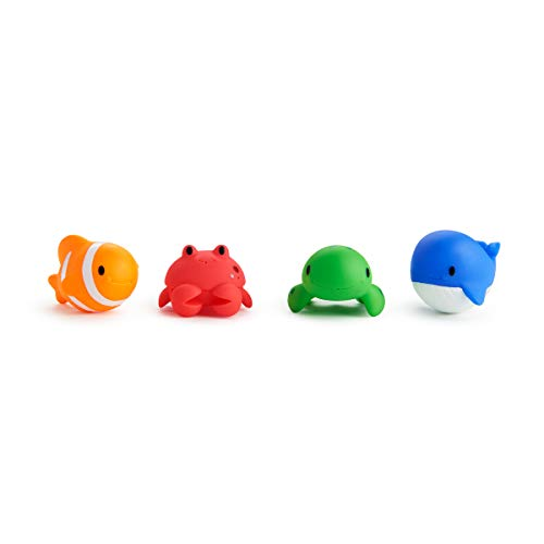 Munchkin Floating Ocean Animal Themed Rubber Bath Squirt Toys for Baby - Pack of 4