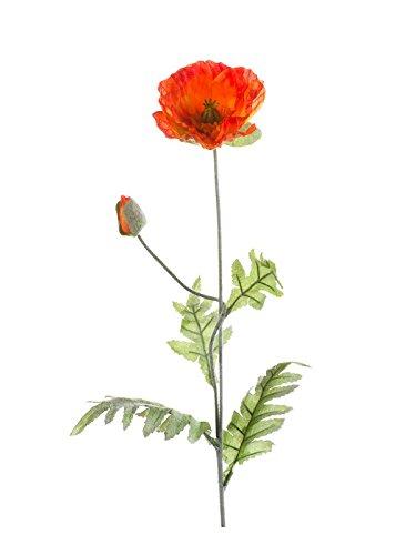 artplants Künstliche Mohnblume, orange, 70 cm – Kunstblume