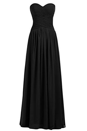 Gorgeous Bride Beliebt Rabatte Herz-Ausschnitte A-Linie Lang Chiffon Abendkleid Festkleid Ballkleid Schwarz