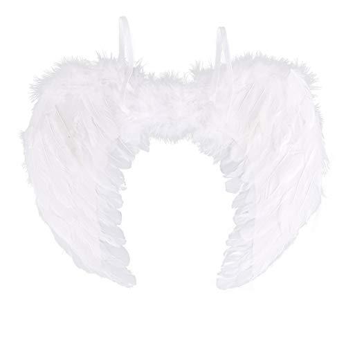 Agoky weiße Engels-/Feen-Flügel Weiße Flügel Engel Kostüm Zubehör Weihnachtsengel Verkleidung--- Tolle Accessoire für Engelskostüm, Weihnachtsfeier oder Weihnachtsmarkt Weiß - Mädchen Weißen Engel Oder Feen Kostüm