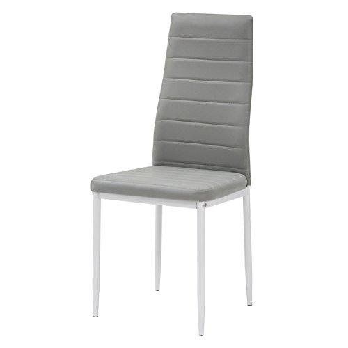 Cribel queen set sedia, metallo laccato, finta pelle, bianco/cenere, 4 pezzi