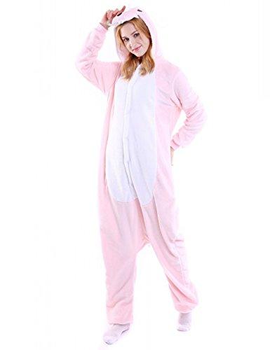 Blauer Pyjama für Erwachsene aus warmem Flanellstoff, Einteiler, Stitch-Design, Unisex Größe L Rosa, Dinosaurier