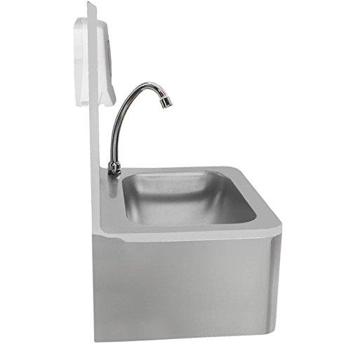 Beeketal 'HWB-I' Knie-Kontakt Handwaschbecken aus Edelstahl, Industrie Waschbecken zur Wandmontage inkl. Siphon, Mischventil zur Temperaturregulierung und gratis Seifenspender -