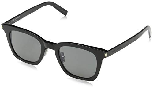 Saint Laurent Unisex-Erwachsene SL 138 SLIM 001 Sonnenbrille, Schwarz (BLACK/SMOKE), 47