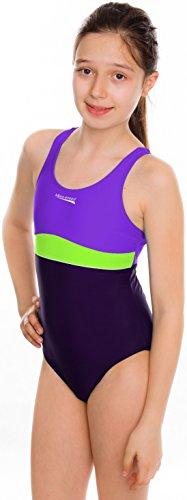 AQUA-SPEED® EMILY Costume da Bagno (Ragazze Teens Protezione Misure 134-164 Elastico Confortevole Protezione UV Cloro resistente) light violet - dark violet - green - 42