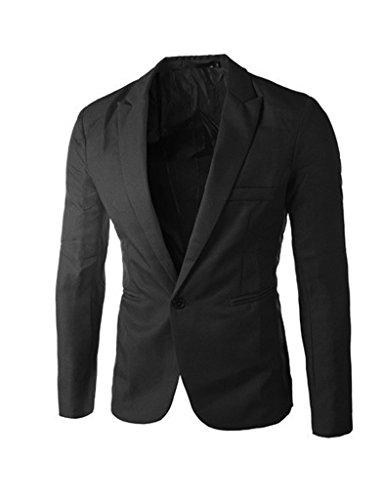 Bestgift Herren Freizeit Anzugsjacke Anzug Schwarz XXXL