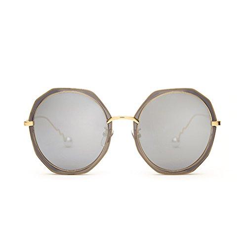 NUBAO Sonnenbrille Frauen Flut Persönlichkeit Runden Gesicht Polarisierte Brille Myopie Augen Sonnenbrille Outdoor-Reisen Tourismus Golf Sonnenbrillen (Farbe : Silber)