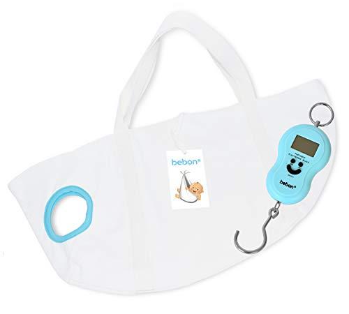 bebon® Babywaage - Waage für Neugeborene, Säuglinge und Babys - Wiegen wie die Hebamme (0-12 Monate, Weiß, 1er Set)