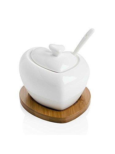 Brandani zuccheriera tutto cuore in porcellana con supporto in bamboo 54206