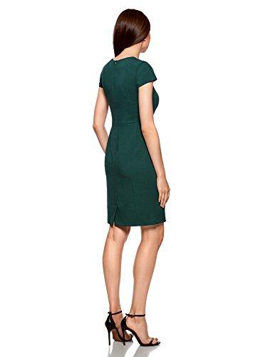 oodji Collection Damen Etuikleid aus Festem Stoff mit Viereck-Ausschnitt Grün (6900N)