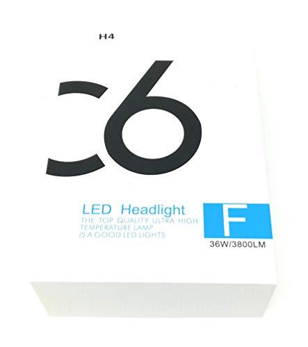 Coppia kit lampade luci LED auto moto fari COB H4 C6 7600LM 36W 6000K headlight luce bianca lampadine bulbi automob
