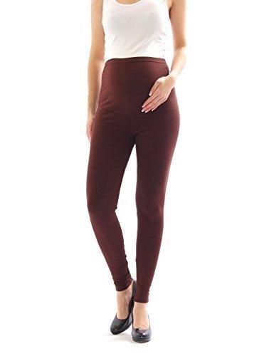 Leggings maternità Thermo Fleece interno Pantaloni lunghi Cotone pantacollant si aggirava intorno - cotone, Marrone, 5% elastam 5% spandex 5% elastam\n\t\t\t\t 95% cotone, Donna, L