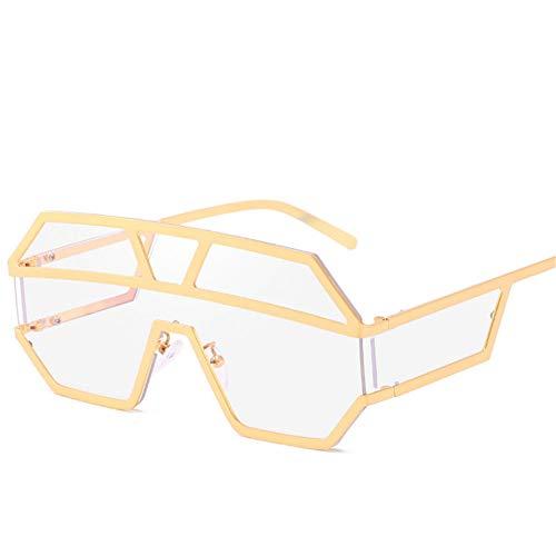 WZYMNTYJ Sonnenbrillen Frauen Männer Mode Übergroße One Piece Sonnenbrille Vintage Metall Big Frame Sonnenbrille Red Shades Brillen