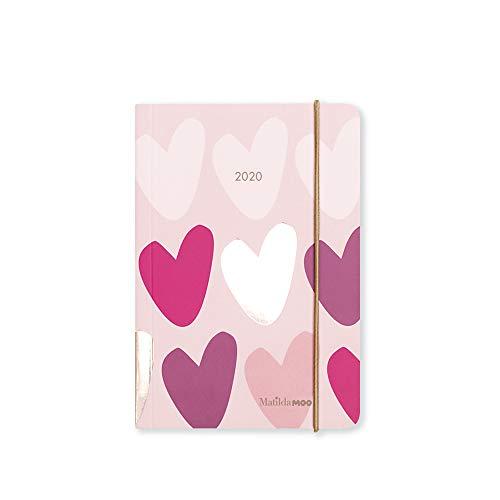 Matilda MOO - Agenda 2020 con copertina flessibile, un giorno per pagina, formato A6 (lingua italiana non garantita) A6 rosa