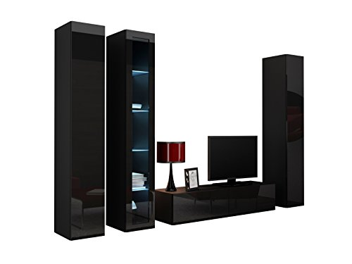 Wohnwand VIGO XV Anbauwand Modernes Wohnzimmer set, Mediawand, Glasvitrine, Hängeschrank TV-Schrank (mit RGB LED Beleuchtung, Schwarz / Schwarz Hochglanz)