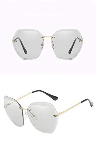 ZJWZ New Ocean Sonnenbrillen Europa und Amerika Trends Gläser schneiden Kante Sonnenbrille ms. Frameless Metal Sonnenbrille,Goldlightgray