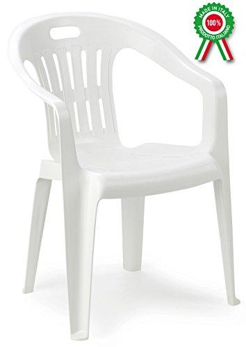 Sedie Di Plastica Bianche.Poltrona Sedia Piona In Dura Resina Di Plastica Bianca