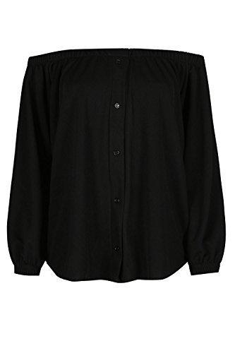 Damen Schulterfrei Elastisch Mit Manschetten Langärmelig Halbrunder Saum Mini Bardot T-shirt Top Schwarz