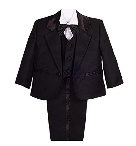 Lito Angels Jungen 5 Stück set Formale Tuxedo Anzug Formale Outfits Gr. 3 Jahre Schwarz (Outfit Angel Black)