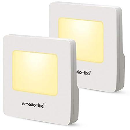 Emotionlite 2 Stück LED Nachtlicht mit Dämmerungssensor Kinder Nachtlicht Sehr gut für Kinderzimmer, Treppenaufgang,Schlafzimmer, Küche, Orientierungslicht,WarmWeiß 2700K [Energieklasse A+]