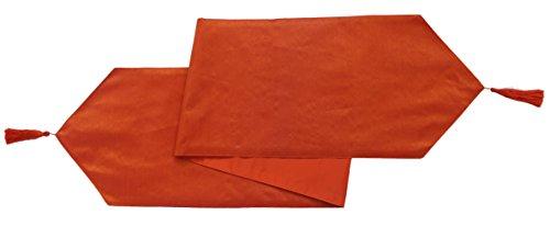 Baumwolle Craft–2Pack polydupioni Dekorative Tischläufer mit Quaste 30x 180cm Orange