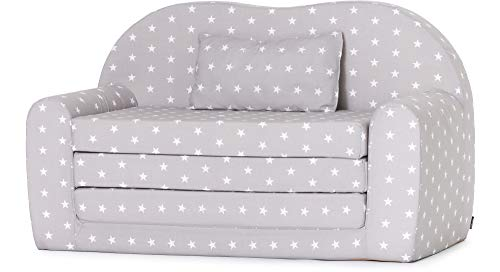 Ladeheid Kindersofa Kindercouch Bettfunktion LATE1004 (Grau/Sterne, 170 x 100 x 60 cm)