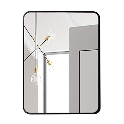 Großer rechteckiger Spiegel - Designspiegel mit abgerundeten Ecken für Eingangsbereiche, Waschräume, Wohnzimmer und mehr, Rahmen aus schwarzer Aluminiumlegierung -