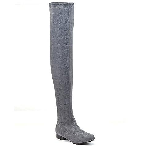 Essex Glam Damen Denbare Oberschenkel hoche Wildleder Stiefeln (EU 40, Grau Wildlederimitat)