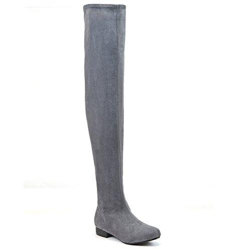 ESSEX GLAM Damen Denbare Oberschenkel hoche Wildleder Stiefeln (EU 38, Grau Wildlederimitat)