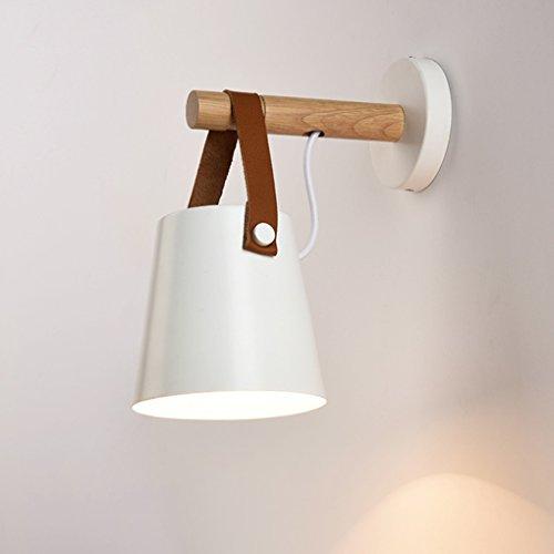 HJHY lampe de mur, chambre Lampes de ceinture Creative Wood art lampe murale Simple restaurant chambre étude salon Appliques Lumières nordiques E27 Facile à nettoyer ( Couleur : Blanc )