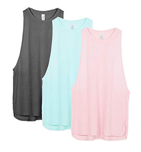icyzone Sport Tank Top Damen Locker - Yoga Fitness Shirt Racerback Oberteile atmungsaktive (Charcoal/Pearl Blush/Aqua, XS) - Aqua-Ärmelloses Top
