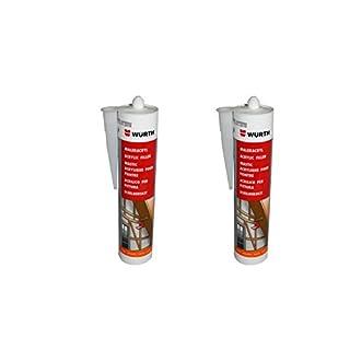 Würth | 2 Stück | Maler-Acryl Silikon | BRAUN 310 ml Kartusche | Fensterverglasung, Abdichtung, Dehnfugen, Silikonfugen in Bad, Dusche, Sanitär, aussen | hitzbeständig, hochtemperatur | Dichtmasse