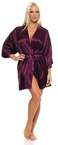 Damen Morgenmantel kurzer Kimono aus Satin Bademantel Nachtwäsche Satinoptik Nachtmantel