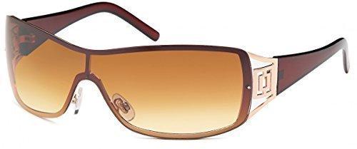 Sonnenbrille Monoscheiben Brille Damen Herren Sonnenbrillen Retro B552, Rahmenfarbe:Braun