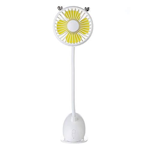 JINRU Mini-Lüfter, Höhenverstellbar, Geräuschlos Tragbar, Einstellbare Windgeschwindigkeit USB Integriert Wiederaufladbar Für Büro- Und Outdoor-Sportreisen,White
